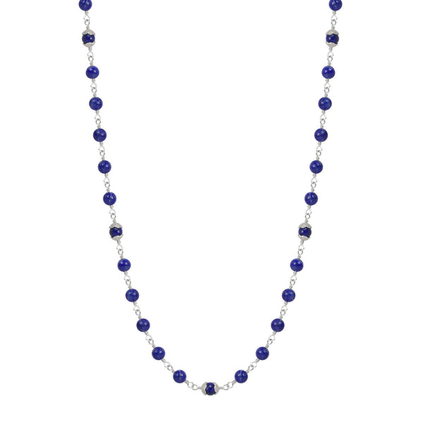 Sterling Silver Flower Cap Lapis Bead Necklace on Wire