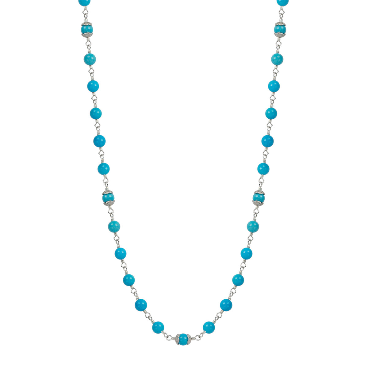 Sterling Silver Flower Cap Turquoise Bead Necklace on Wire