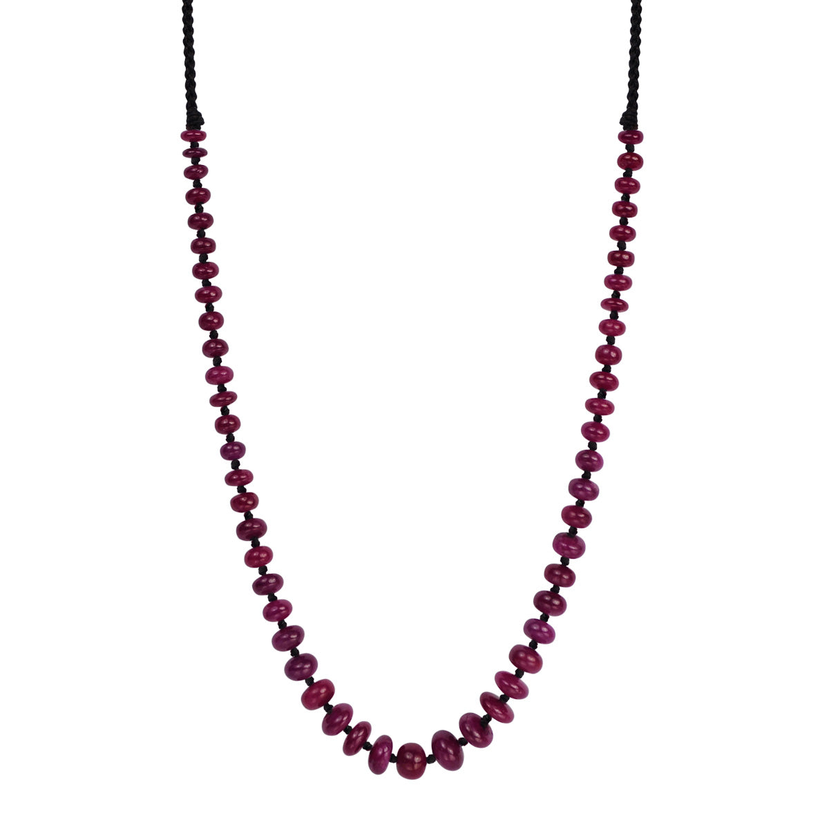 18K Gold Smooth Ruby Knotted Necklace
