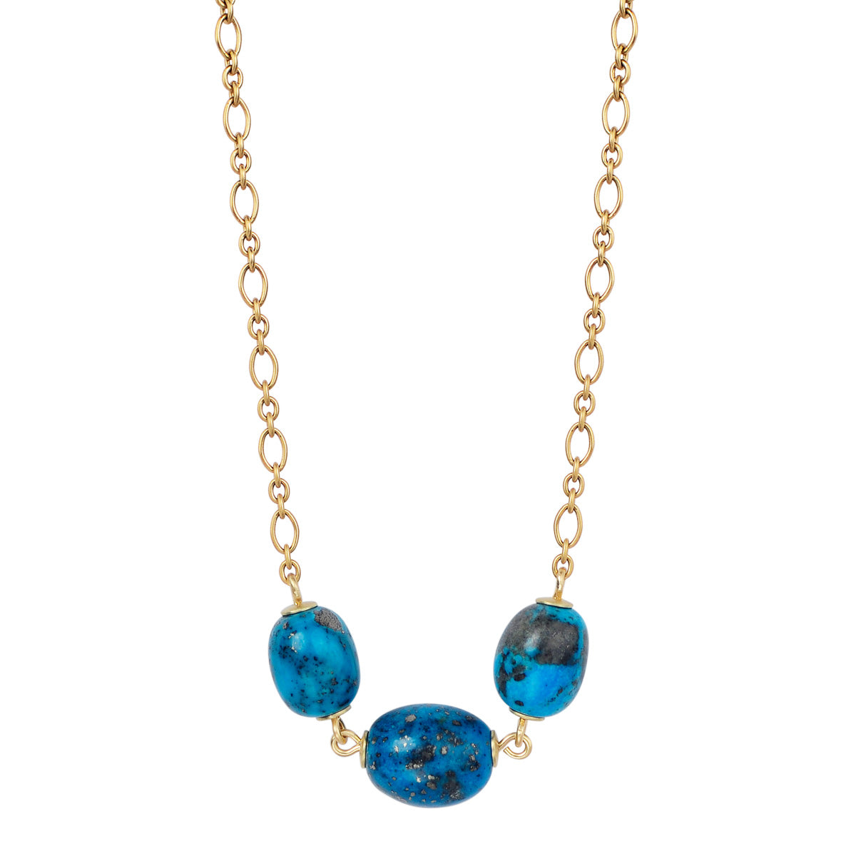 18K Gold Three Oval Persian Turquoise Beads on Chain
