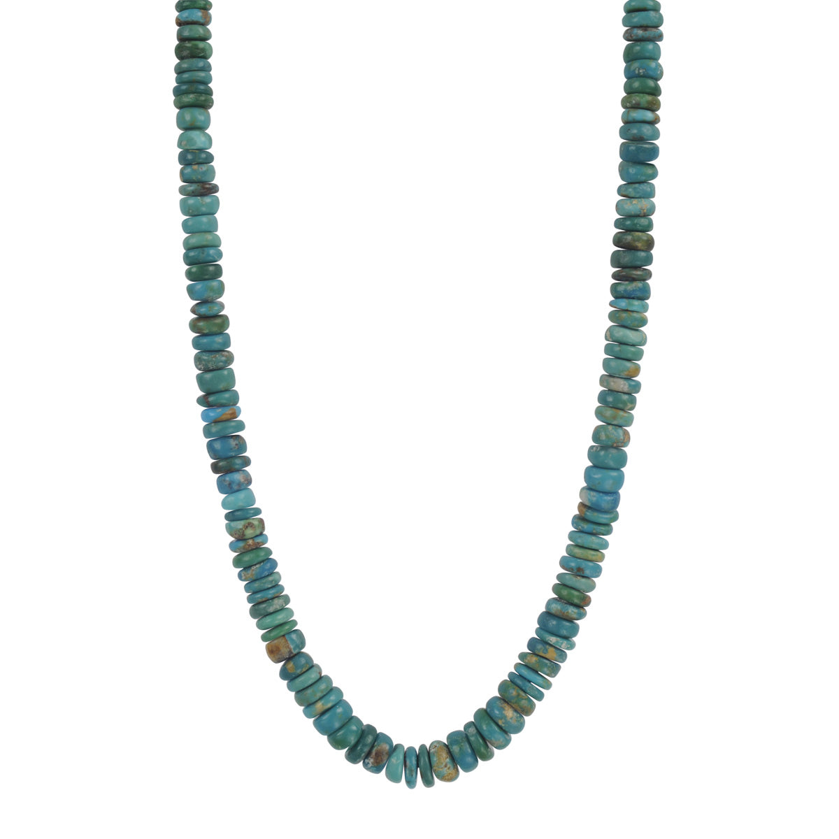 18K Gold Persian Turquoise Rondelle Necklace on Cord