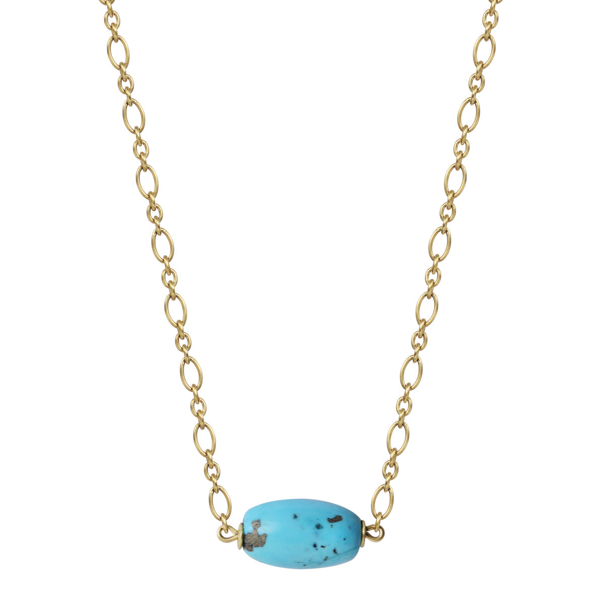 18K Gold Oval Persian Turquoise Bead on Chain