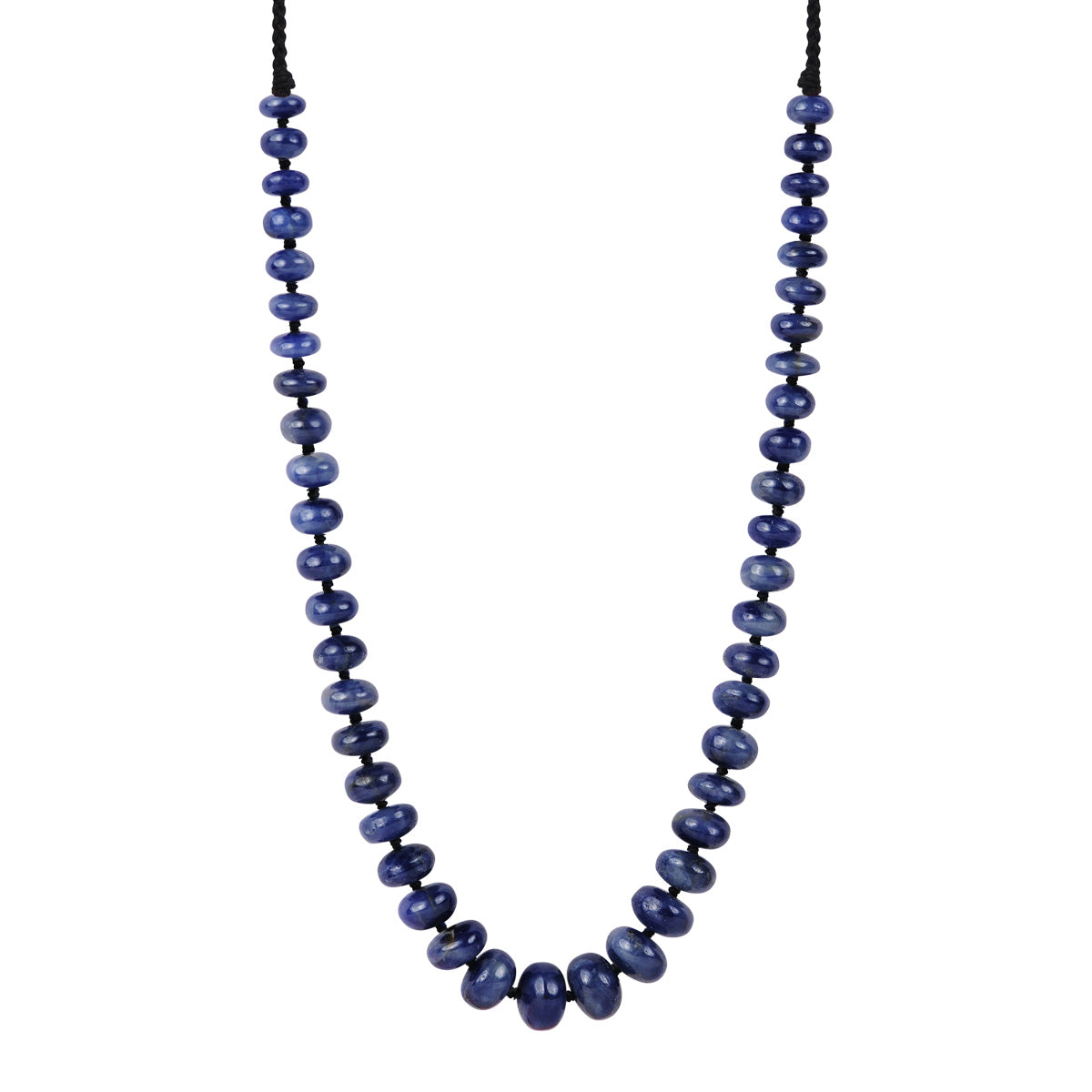 Sterling Silver Knotted Blue Sapphire Rondel Necklace on Cord