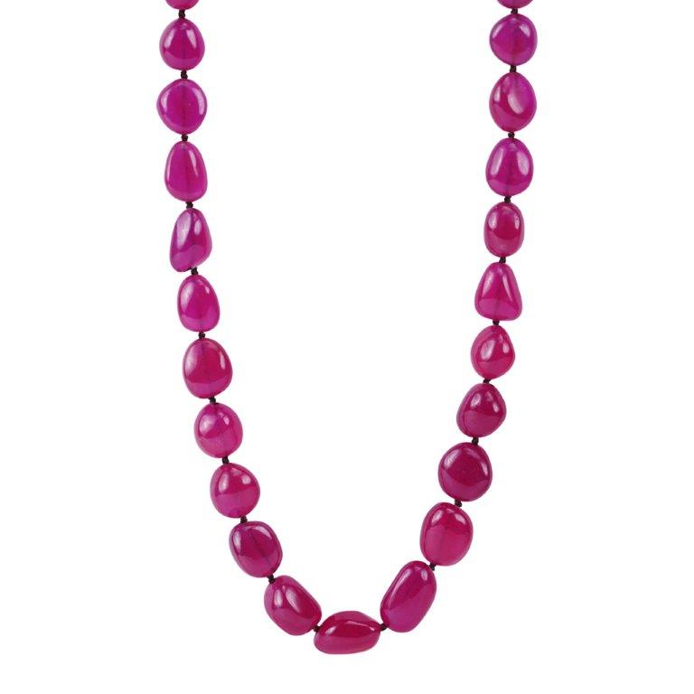 18K Gold Knotted Ruby Nugget Necklace on Cord