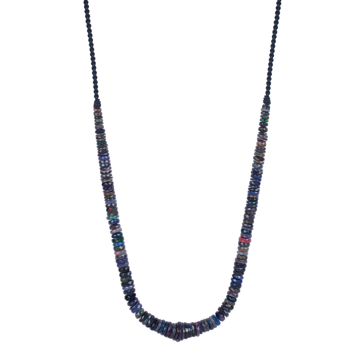 18K Gold Black Opal Rondelle Strung Necklace