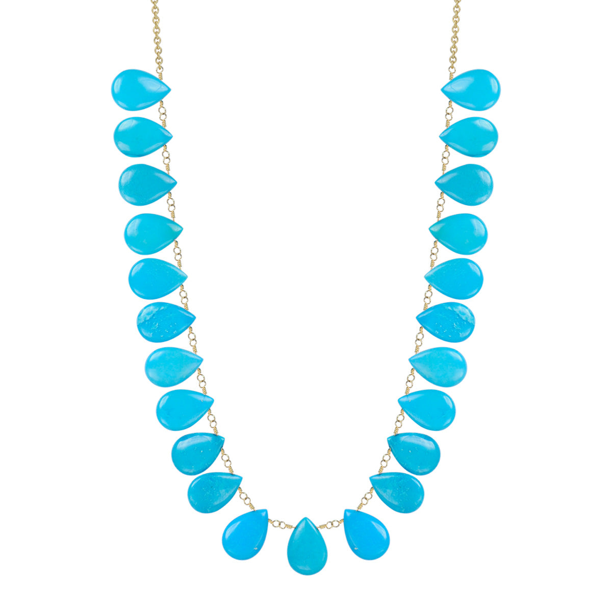 18K Gold Large Turquoise Teardrops on Chain