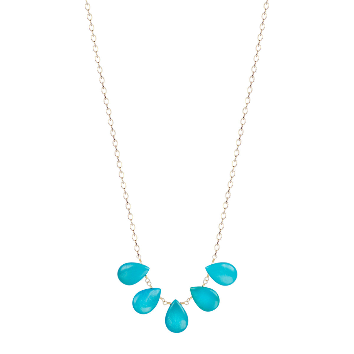 10K Gold 5 Large Turquoise Teardrops on Chain