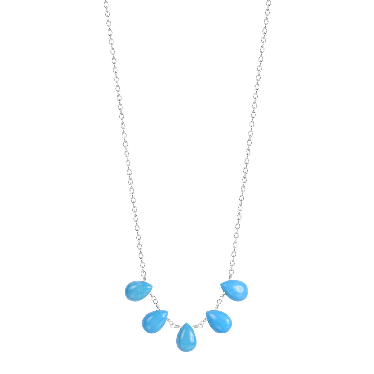 Sterling Silver 5 Turquoise Teardrops on Chain