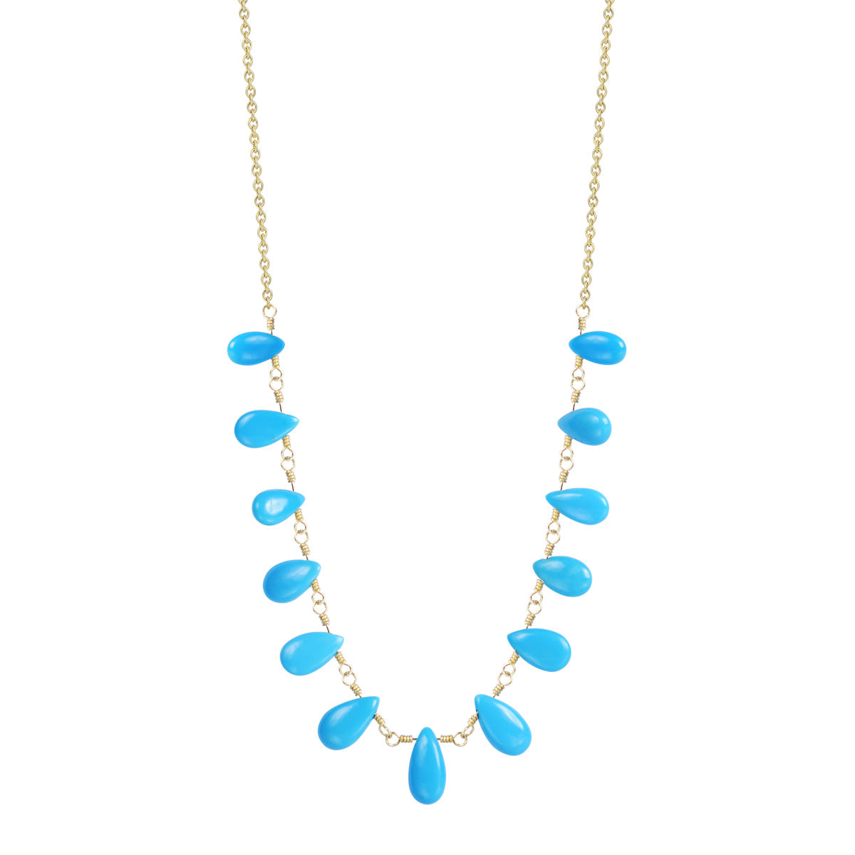 18K Gold 13 Turquoise Teardrops on Chain