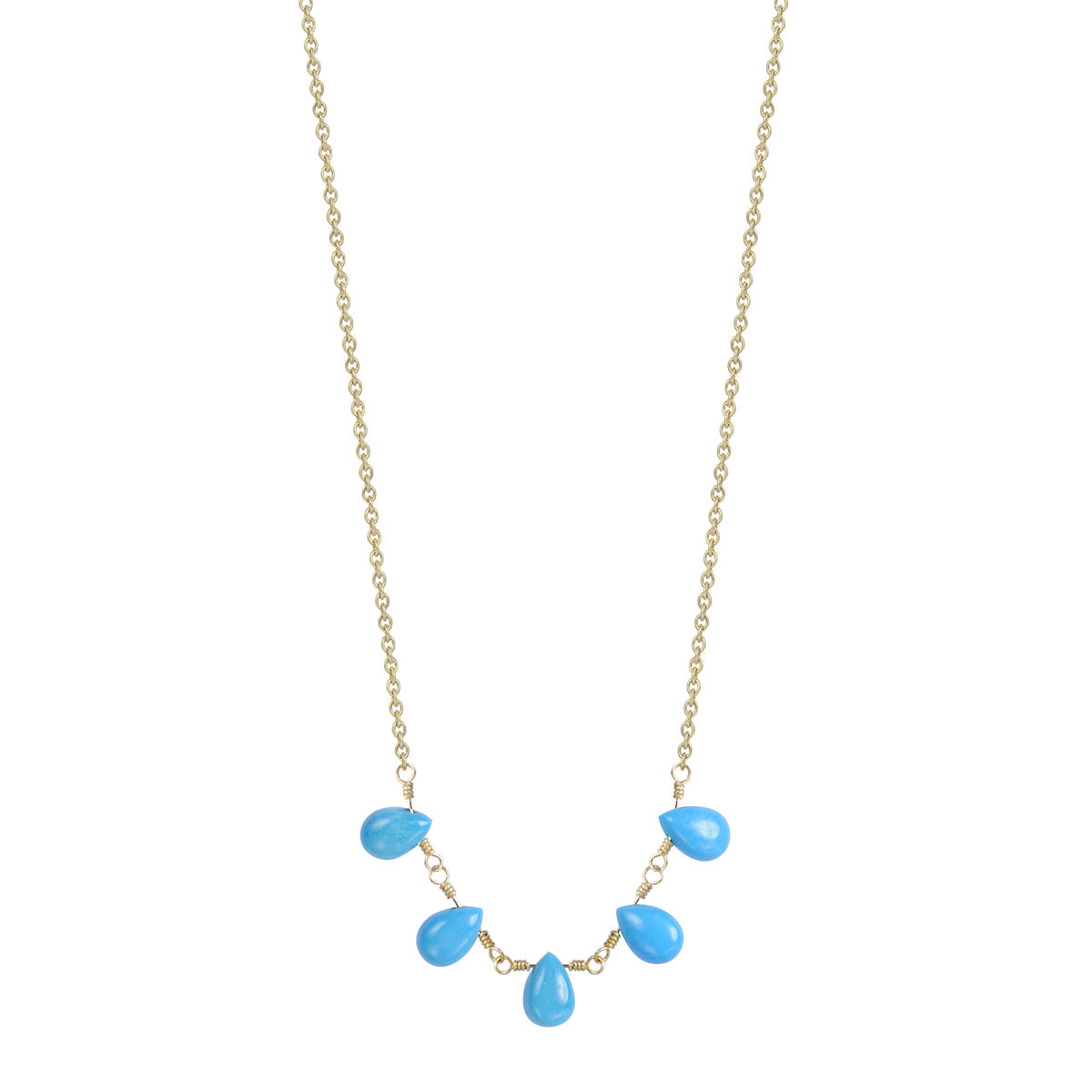 18K Gold 5 Turquoise Teardrops on Chain