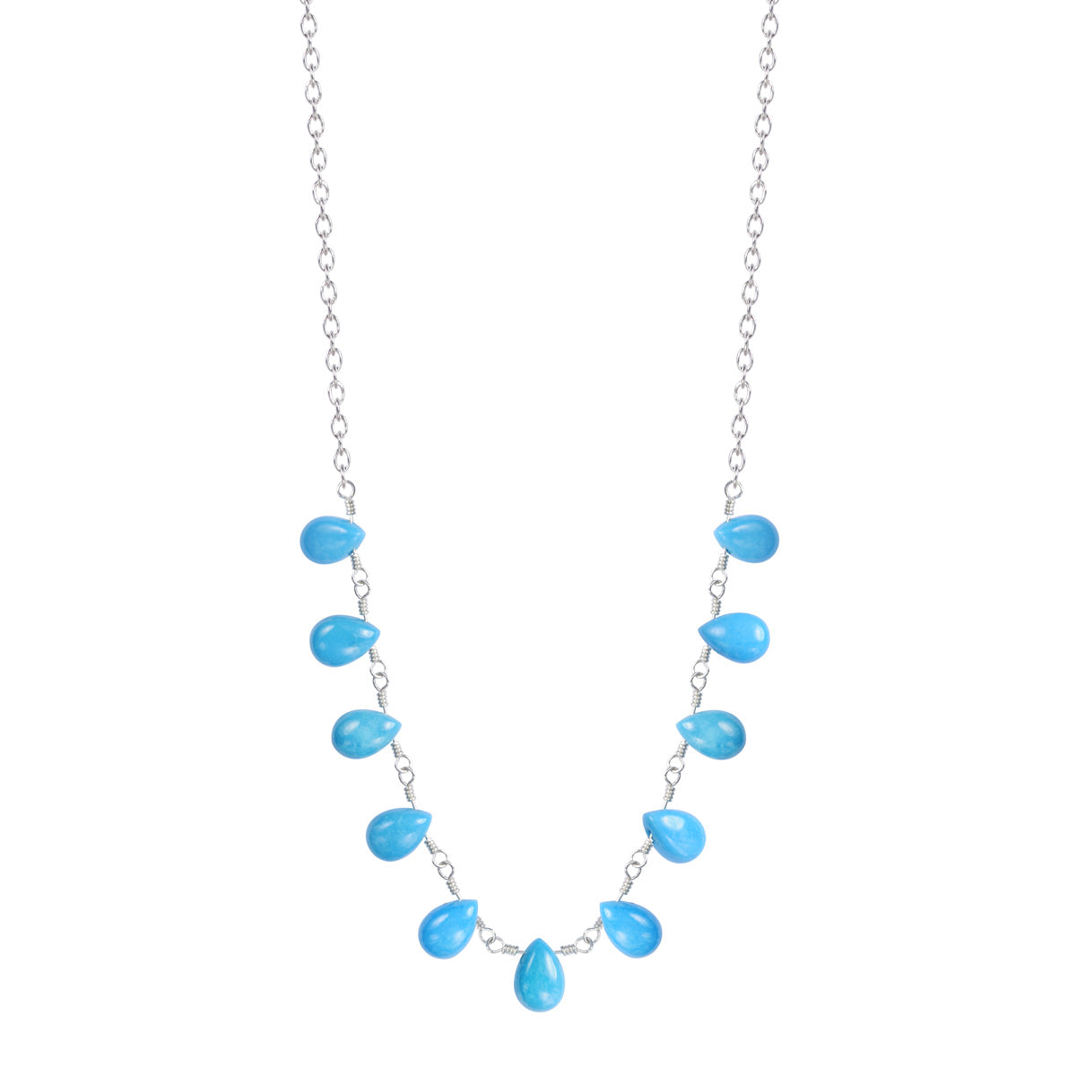Sterling Silver 11 Turquoise Teardrops on Chain