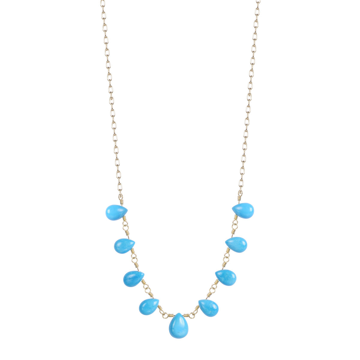 10K Gold 11 Turquoise Teardrops on Chain