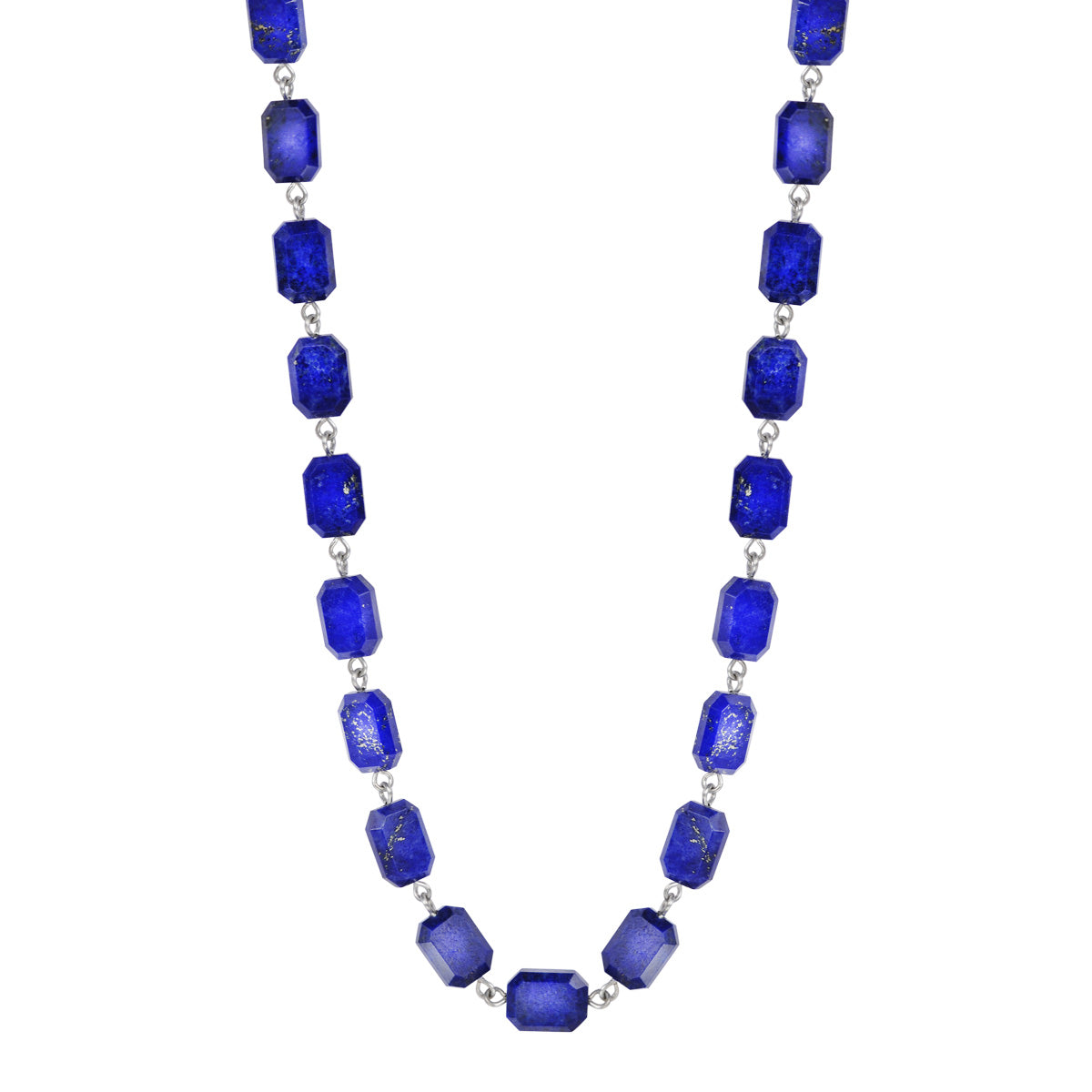 Sterling Silver Lapis Emerald Cut Bead Necklace