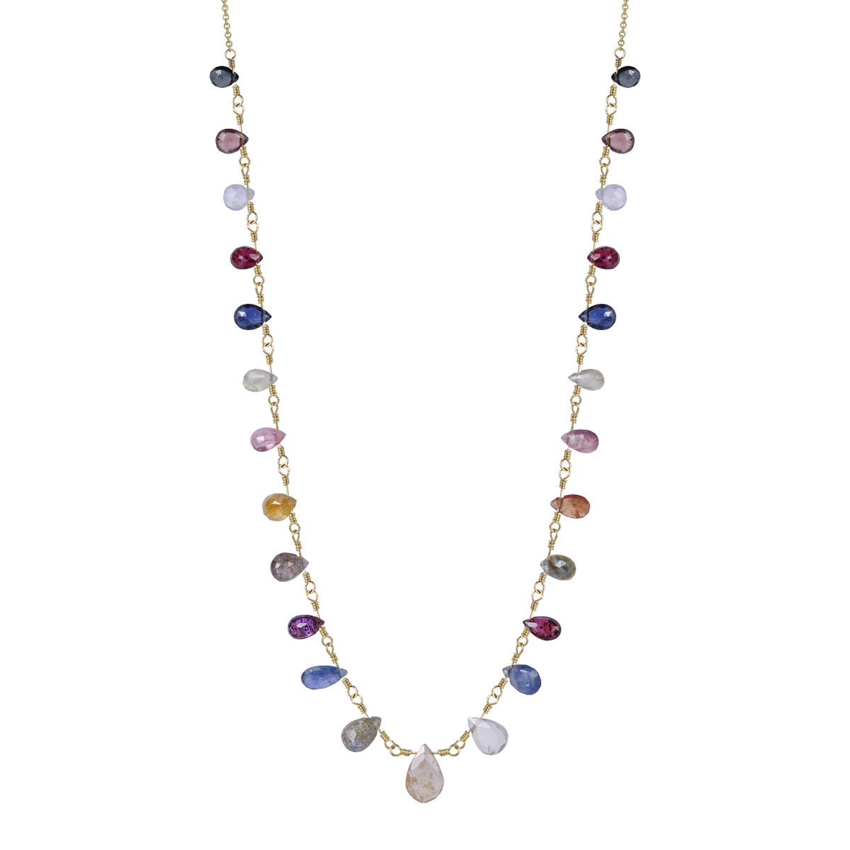 18K Gold 25 Multi Sapphire Teardrops on Chain