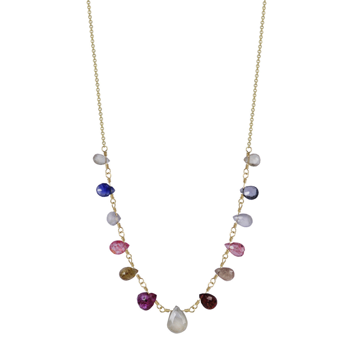 18K Gold 13 Multi Sapphire Teardrops on Chain