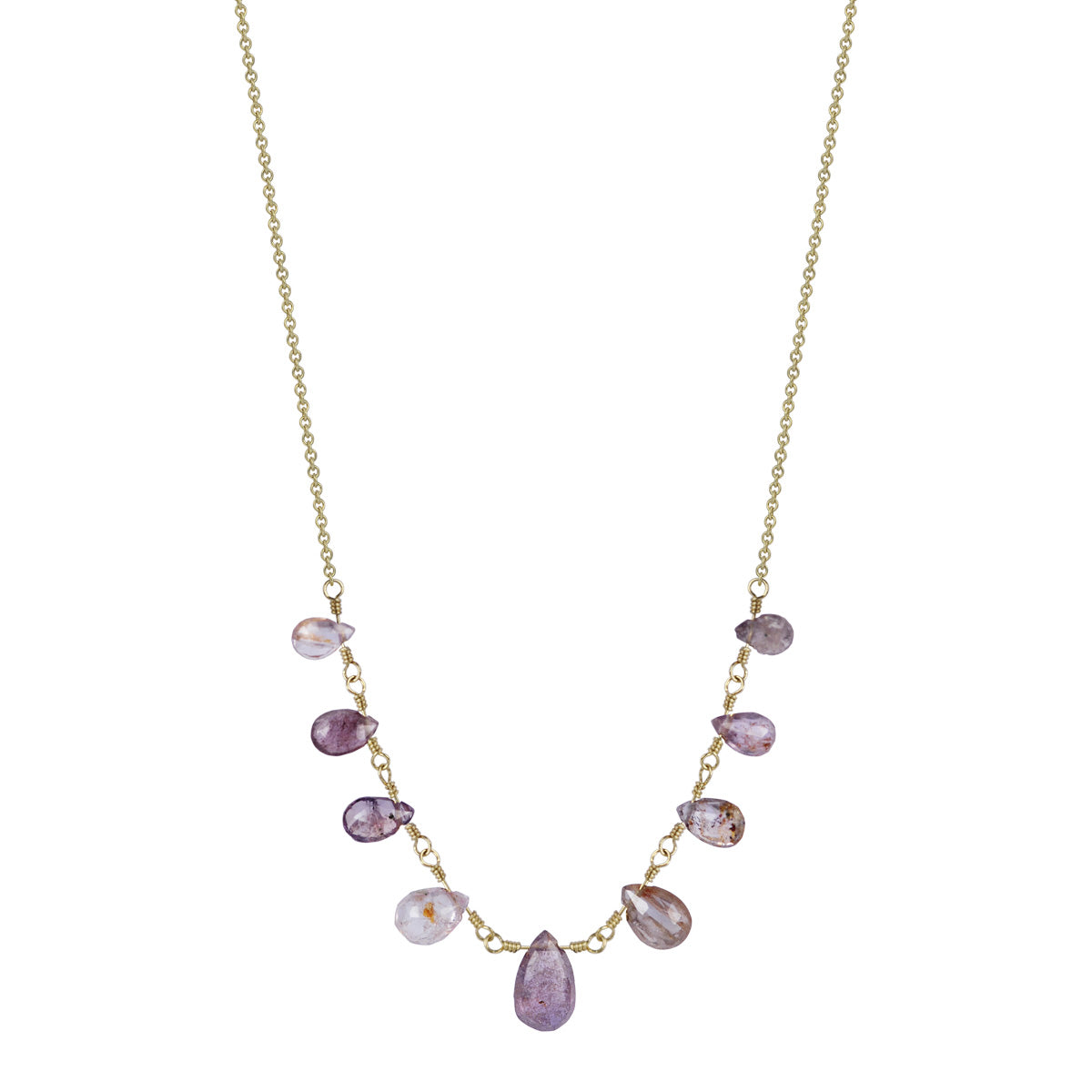 18K Gold 9 Pink Sapphire Teardrops on Chain