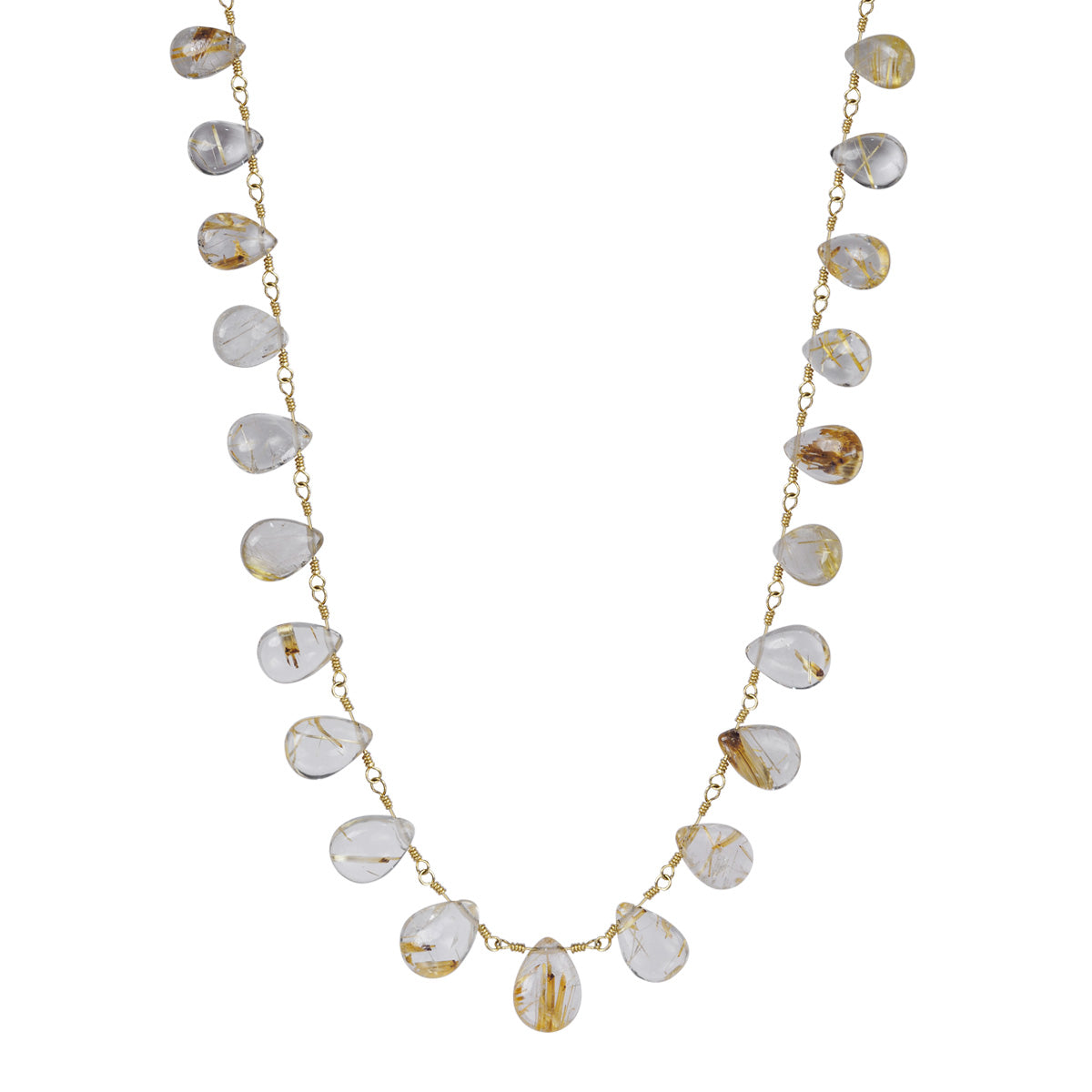 10K Gold Rutilated Quartz Teardrop Necklace