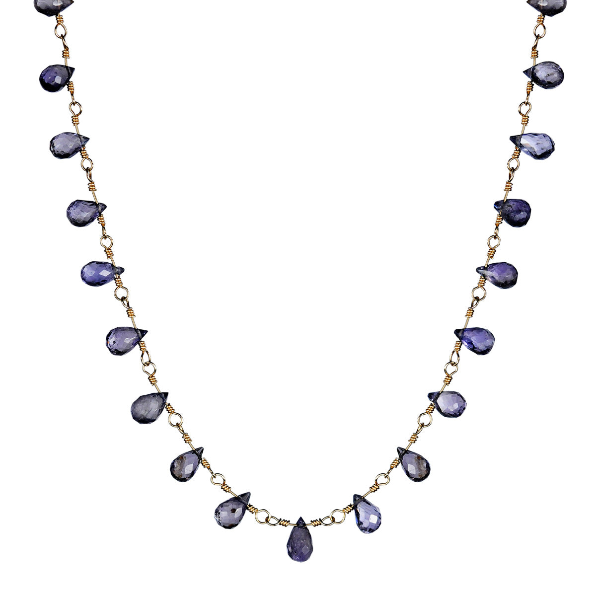 10K Gold Small Iolite Teardrop Necklace