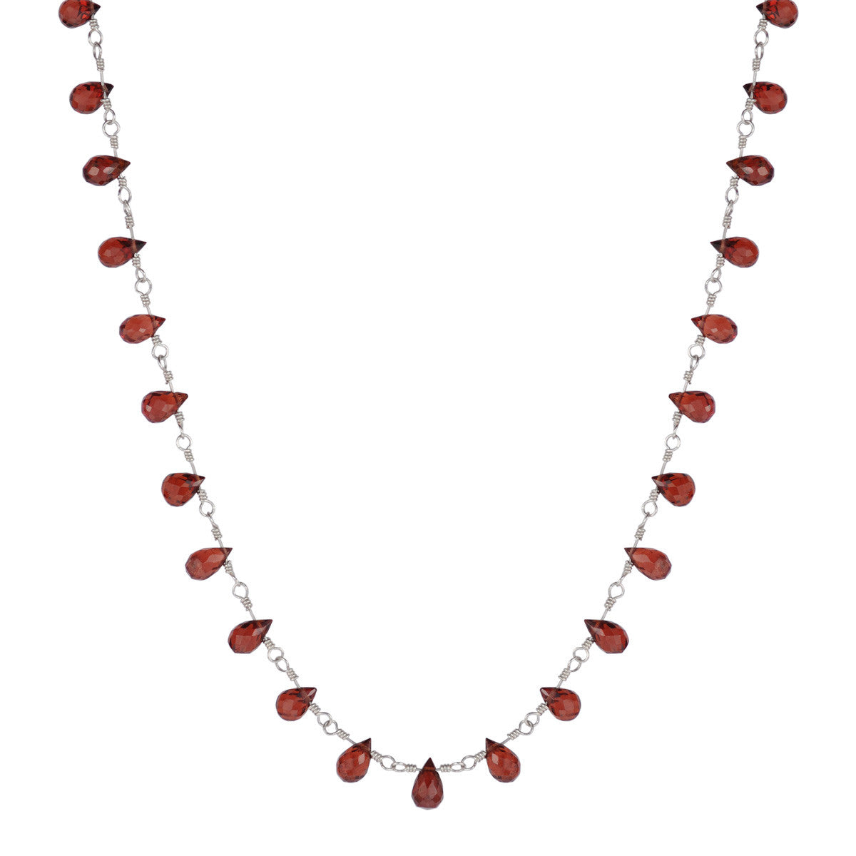 Sterling Silver Small Garnet Teardrop Necklace