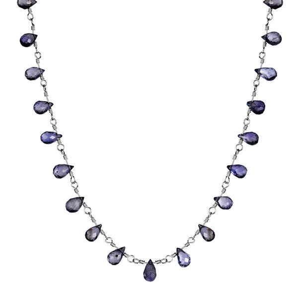Sterling Silver Small Iolite Teardrop Necklace
