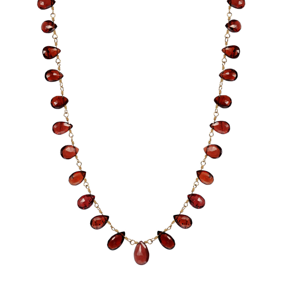 10K Gold Medium Garnet Teardrop Necklace