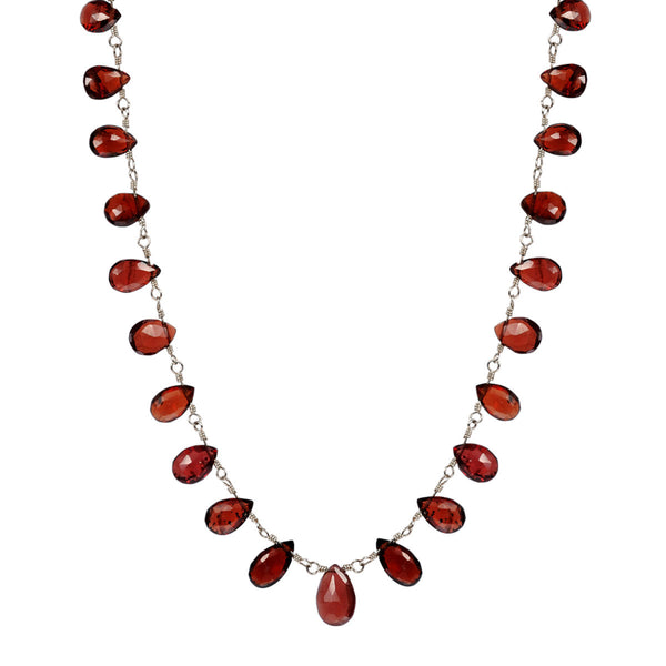 Sterling Silver Medium Garnet Teardrop Necklace
