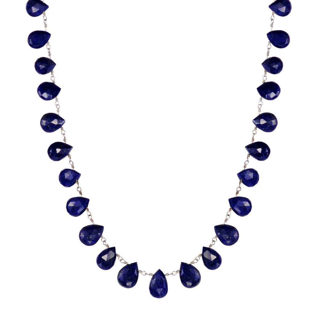 Sterling Silver Medium Lapis Teardrop Necklace