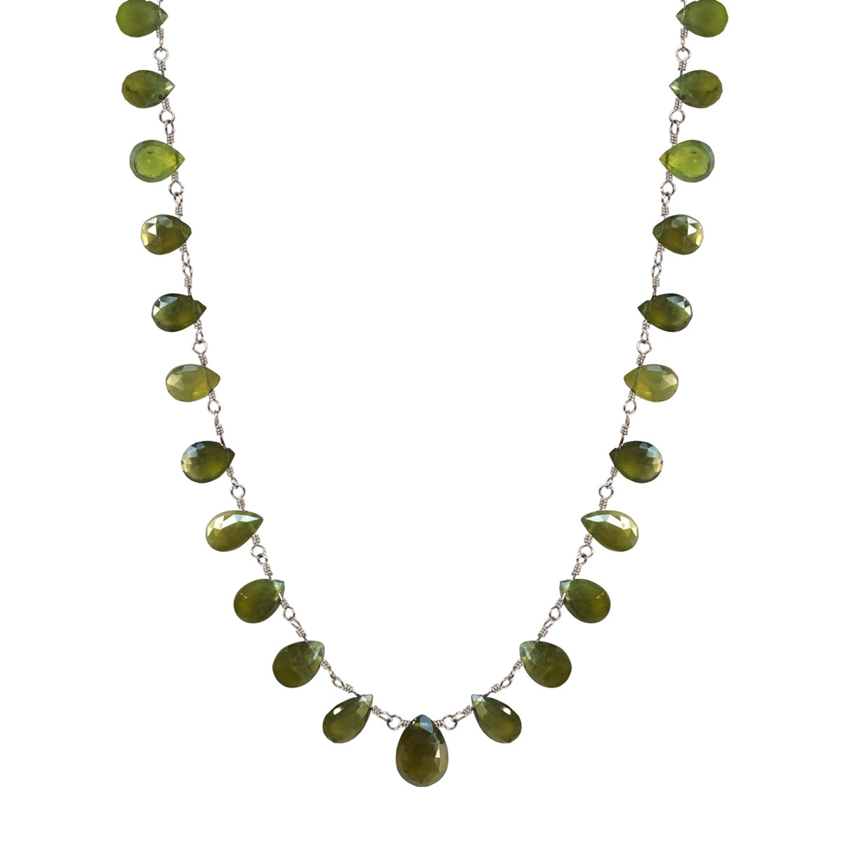 Sterling Silver Medium Vesuvianite Teardrop Necklace