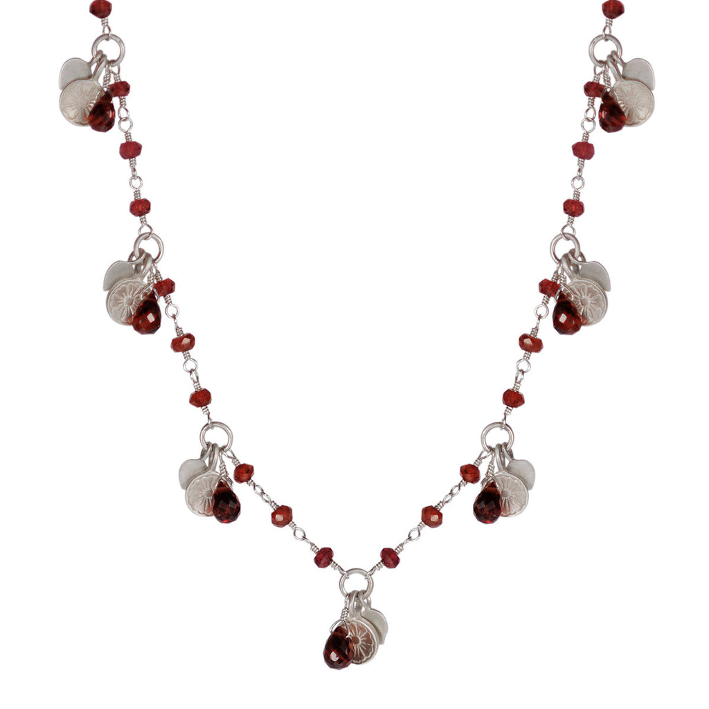 Sterling Silver Flower Trinket Chain with Garnet Beads