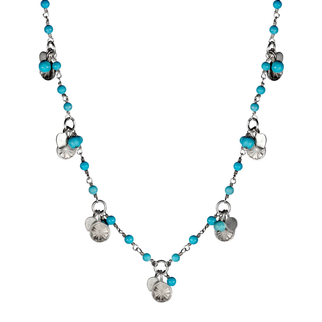 Sterling Silver Flower Trinket Chain with Turquoise Beads