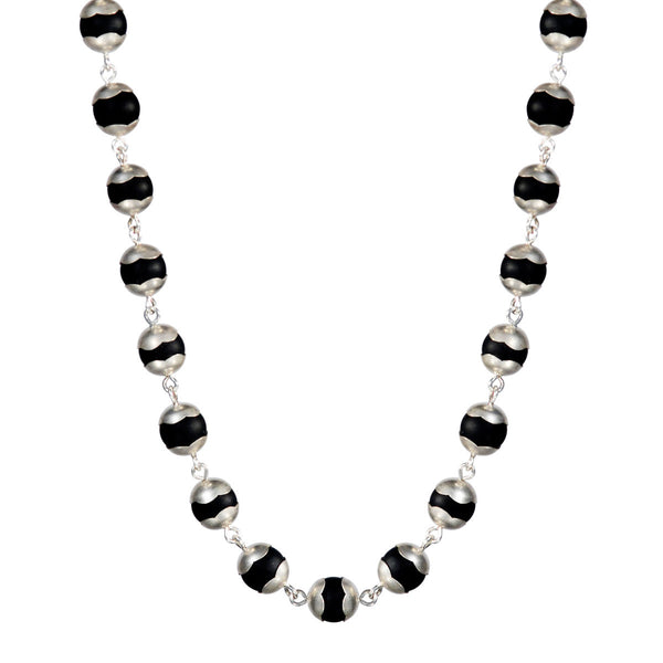 Sterling Silver Full Onyx Flower Cap Bead Necklace