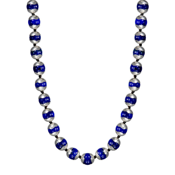 Sterling Silver Full Lapis Flower Cap Bead Necklace on Cord