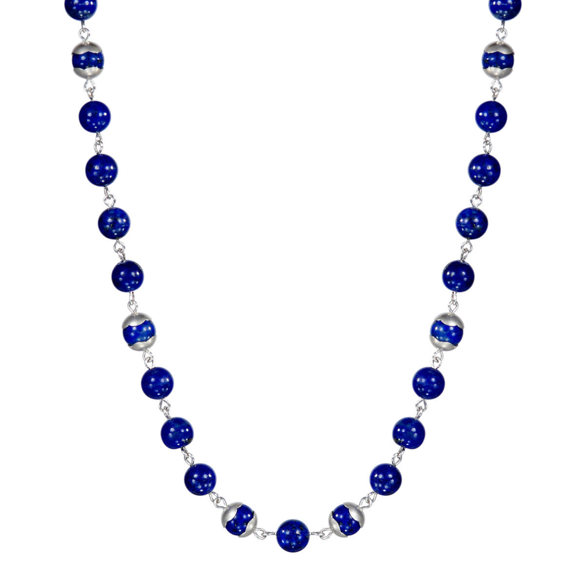Sterling Silver Flower Cap Lapis Bead Necklace
