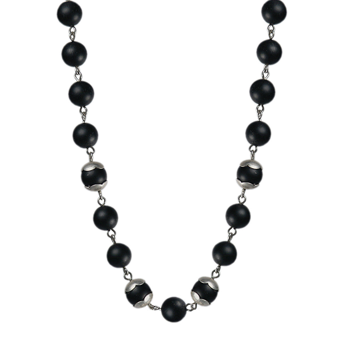 Sterling Silver Flower Cap Onyx Bead Necklace