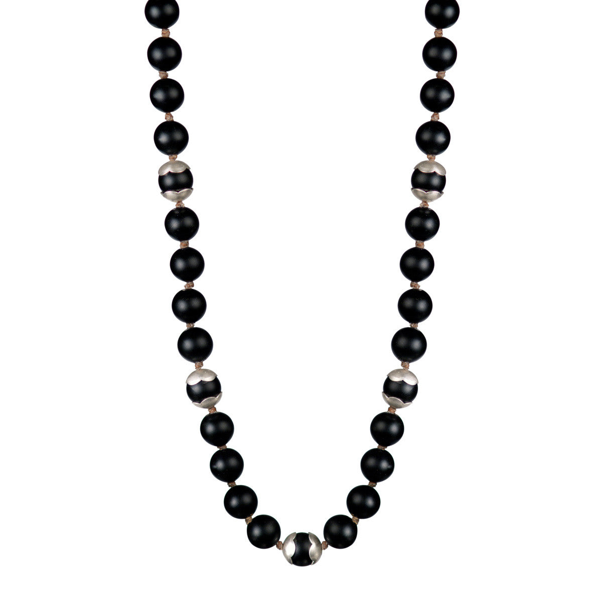 Sterling Silver Flower Cap Onyx Bead Necklace on Cord