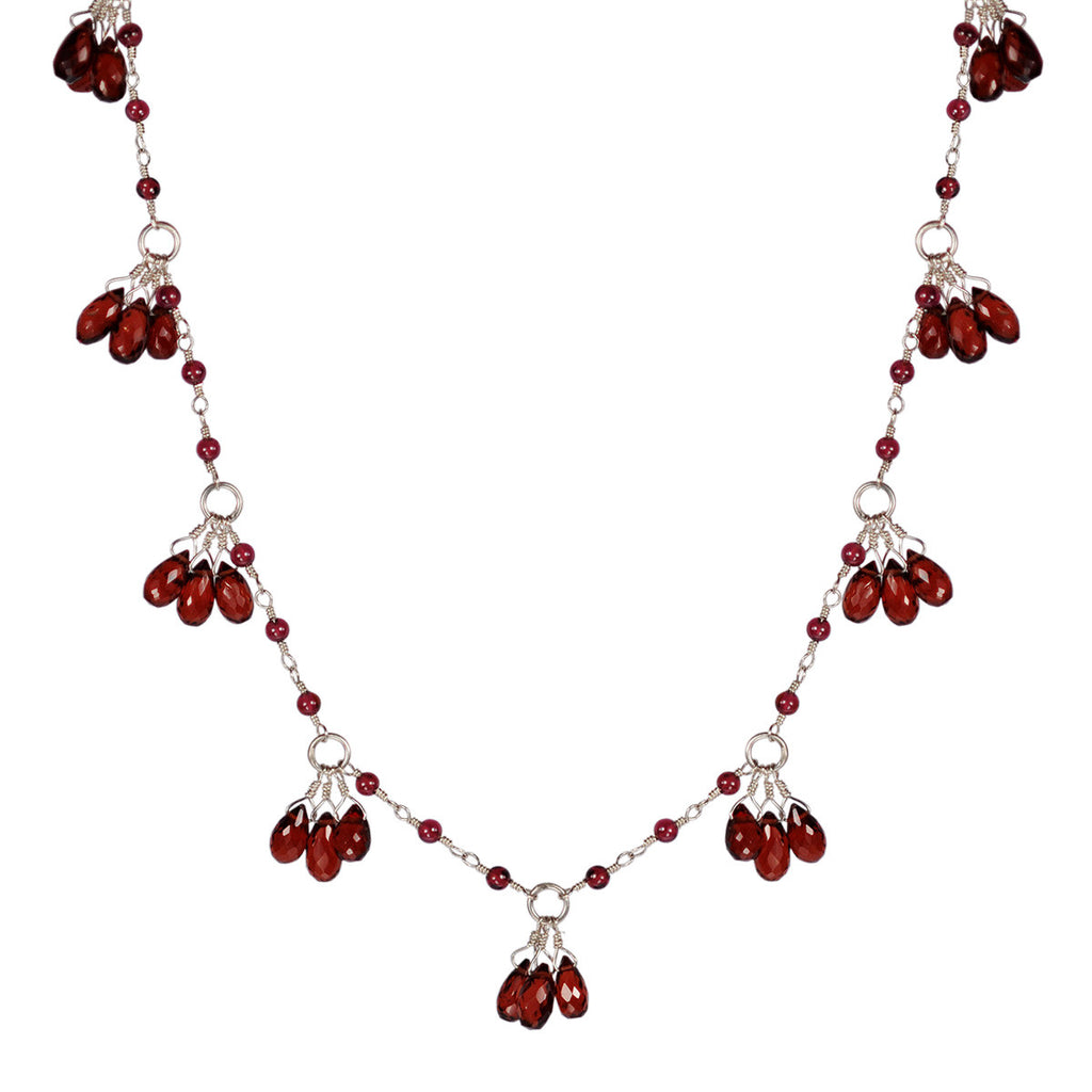 Sterling Silver Circle Garnet Teardrop Chain
