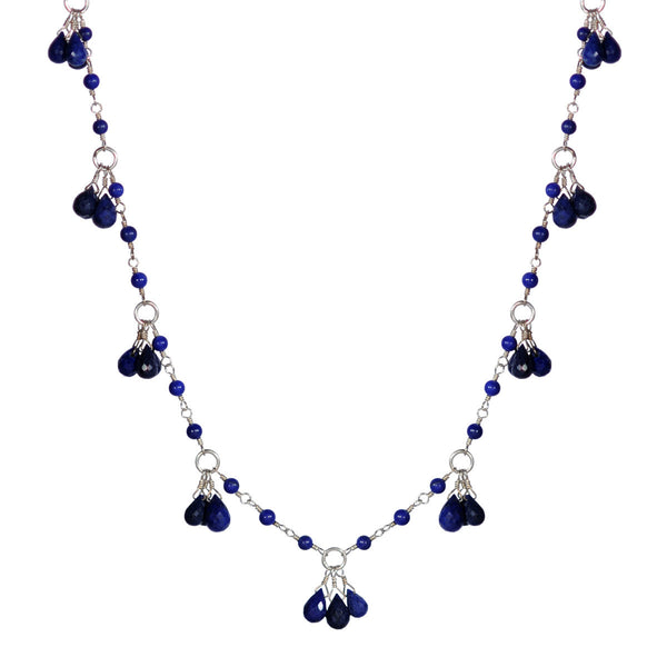 Sterling Silver Circle Lapis Teardrop Chain