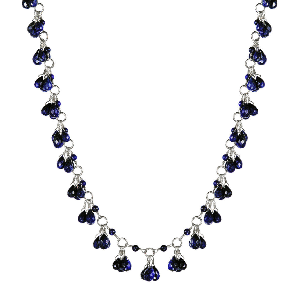 Sterling Silver Full Circle Lapis Teardrop Chain