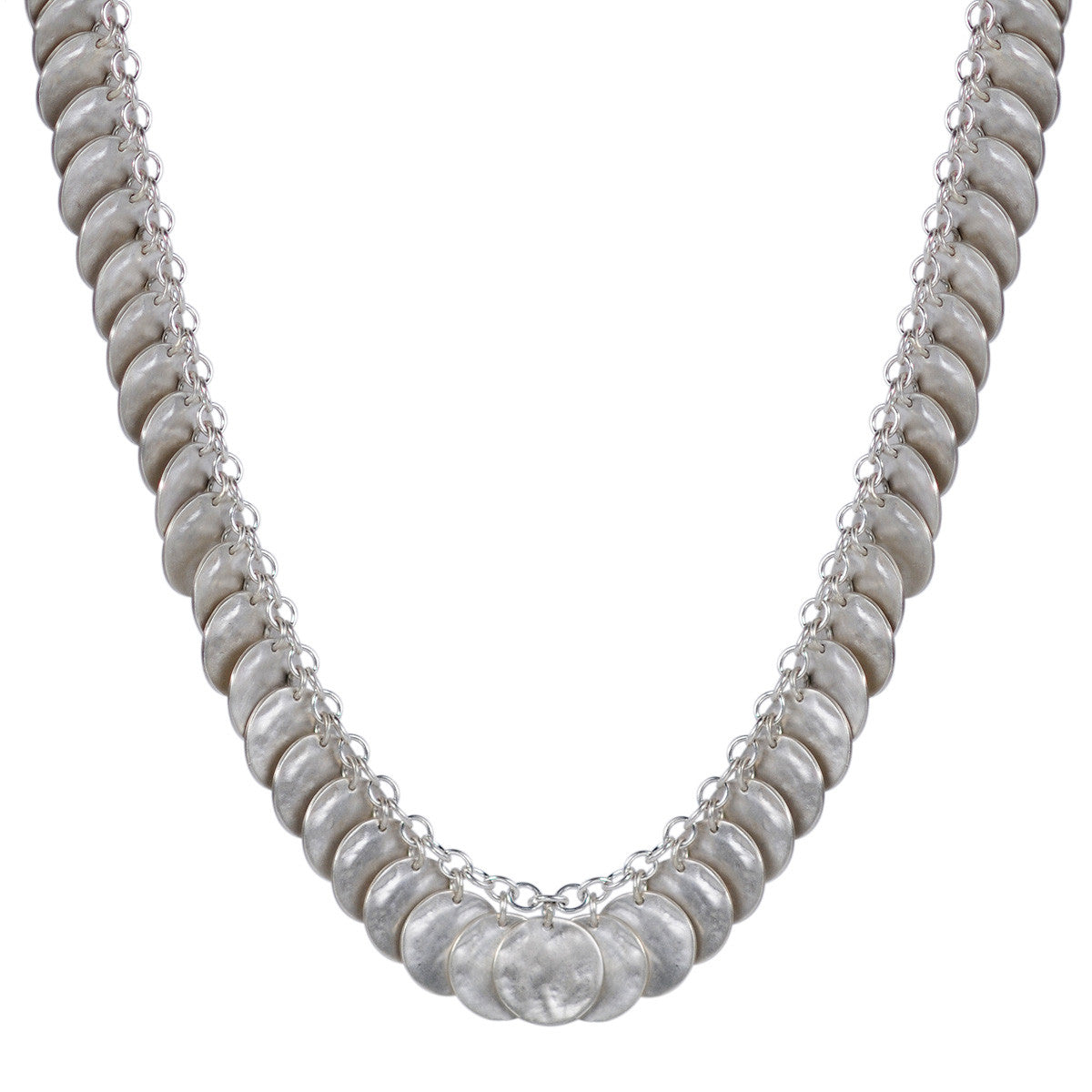 Sterling Silver Full Shell Disc Chain
