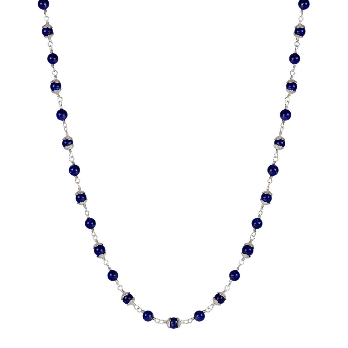 Sterling Silver Tiny Flower Capped Necklace in Lapis