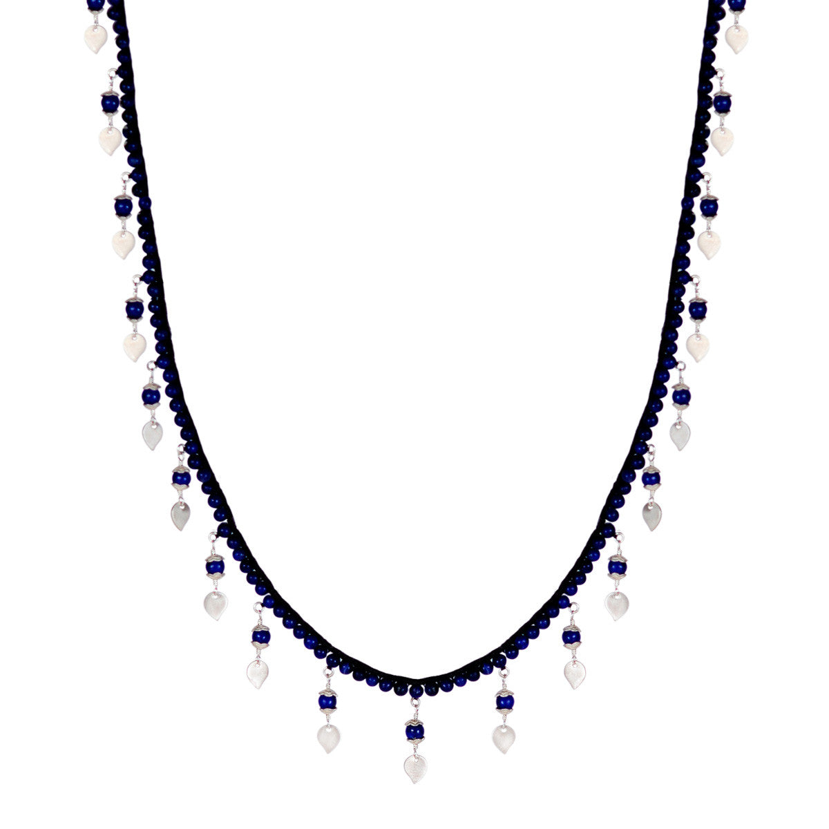 Sterling Silver Beaded Lapis Lotus Chain on Cord