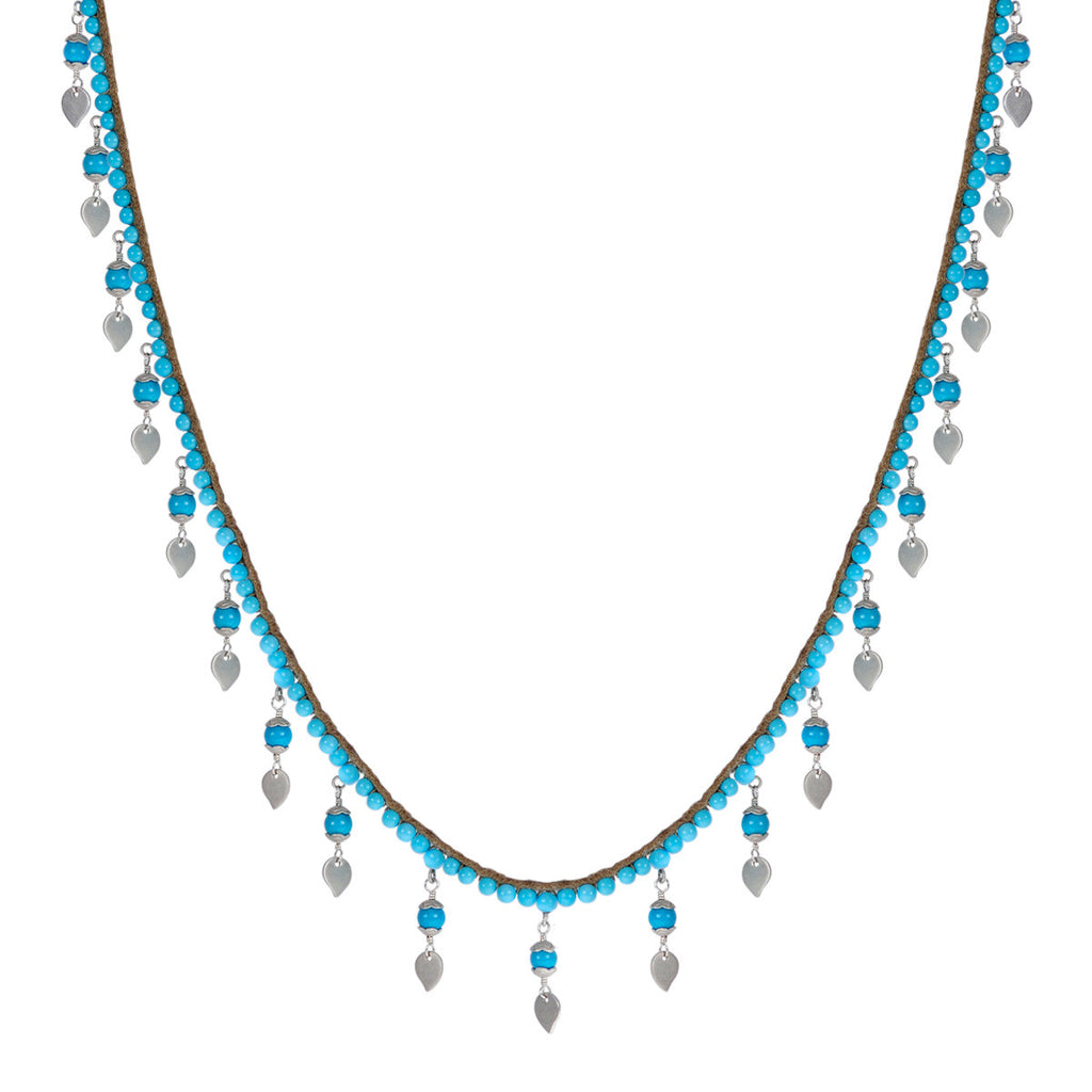 Sterling Silver Beaded Turquoise Chain on Cord