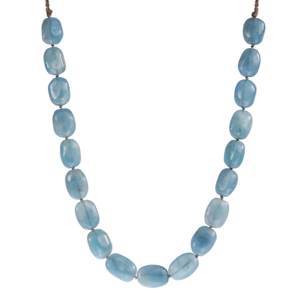 Sterling Silver Knotted Aquamarine Necklace on Cord