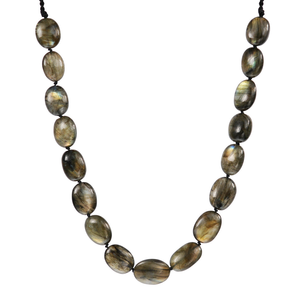Sterling Silver Knotted Labradorite Necklace on Cord
