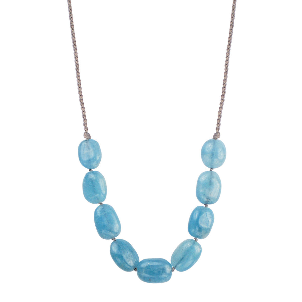 Sterling Silver 9 Knotted Aquamarine Necklace