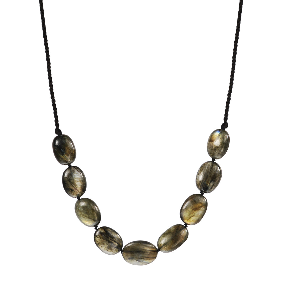 Sterling Silver 9 Knotted Labradorite Necklace