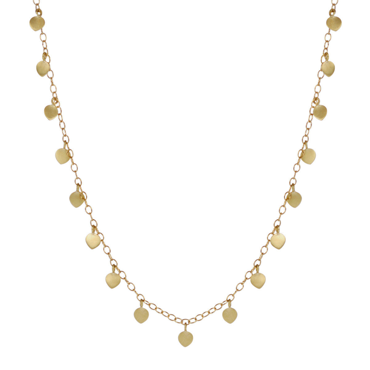 18K Gold Long Lotus Petal Necklace