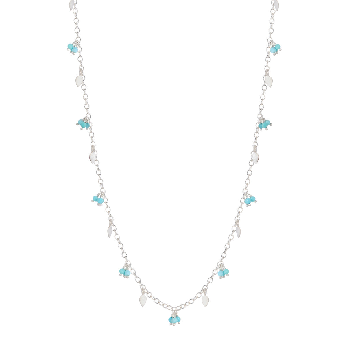 Sterling Silver Tiny Petal Chain with Turquoise