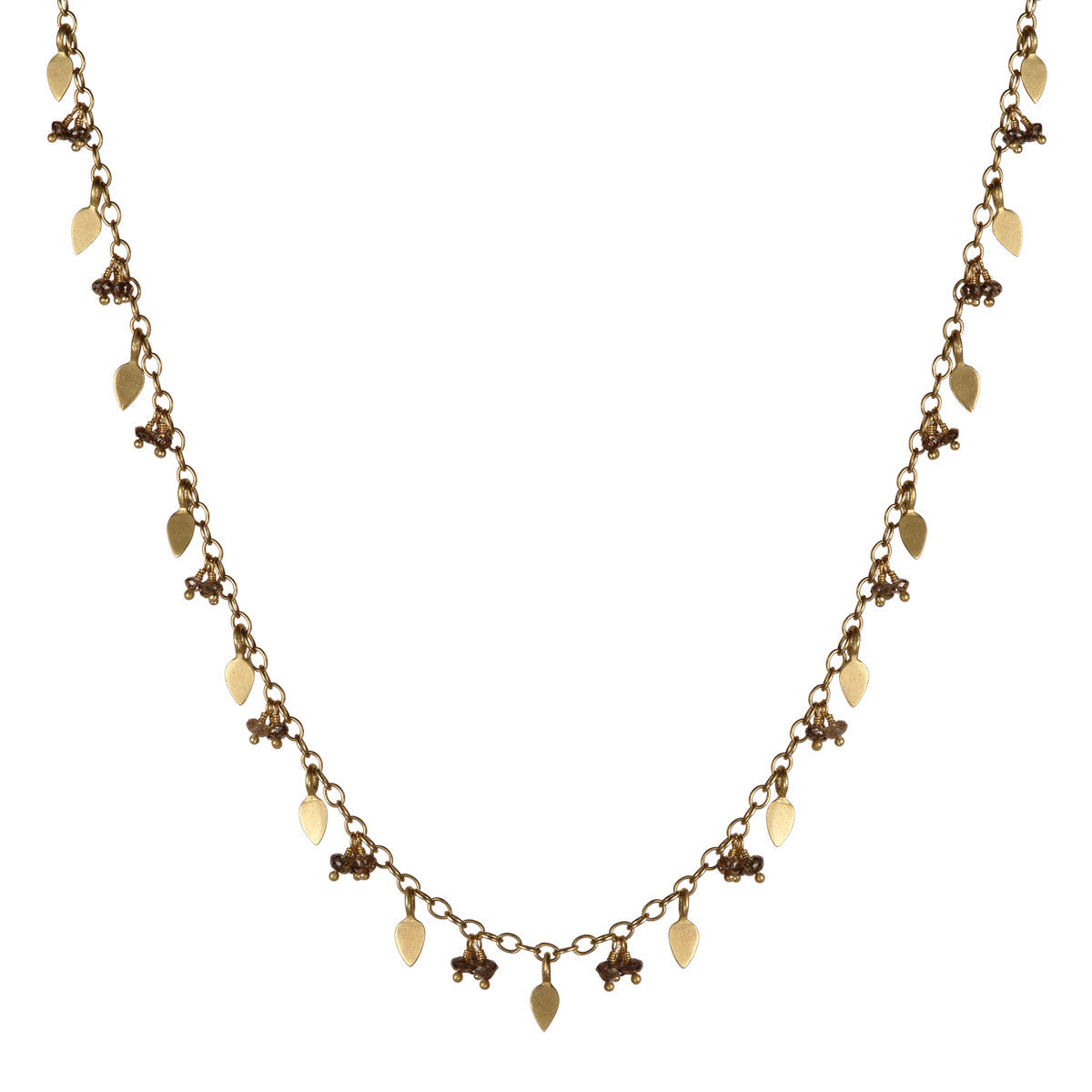 18K Gold 1 Tier Tiny Petal & Bead Chain with Brown Diamonds