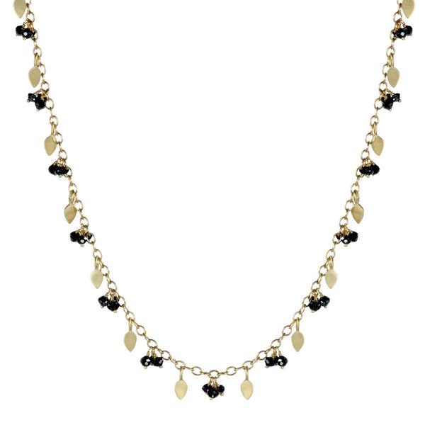 18K Gold 1 Tier Tiny Petal & Bead Chain with Black Diamonds